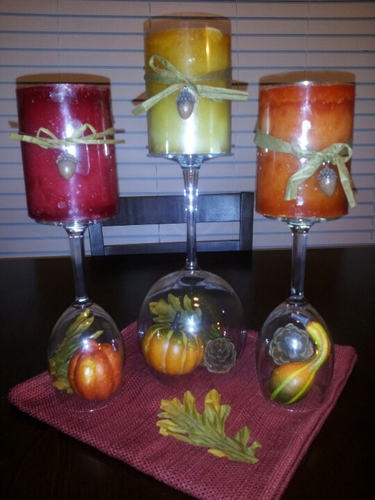 Fall centerpiece to go along with my kitchen wine theme for Wine themed kitchen ideas