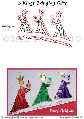 Three Kings with Gifts Iris Folding Pattern on Craftsuprint designed by Silvia Griffin - Very colorful Christmas card to make.I hope you like it and get lots of use from it. Please check out my other patters. Thank you very much for looking :). - Now available for download!