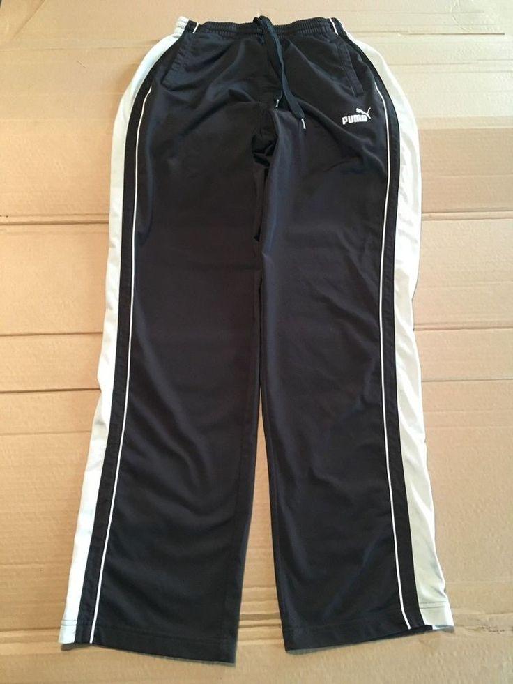 Vintage Puma Black White Joggers Men's Size Small Track Sweatpants Windbreakers #PUMA #TrackSweatPants