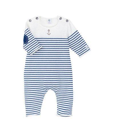 Combinaison longue bébé garçon en tricot jersey de coton rayé blanc Lait / bleu Surf - Petit Bateau