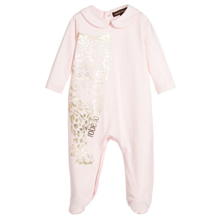 Roberto Cavalli - Girls Pink Jaguar Print Babygrow   Childrensalon