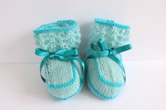 Blue Baby ShoesTurquoise BootiesUnisex Baby by Pinknitting on Etsy