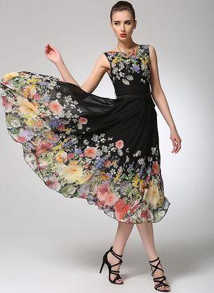 Chiffon Floral Sleeveless Mid-Calf Elegant Dresses
