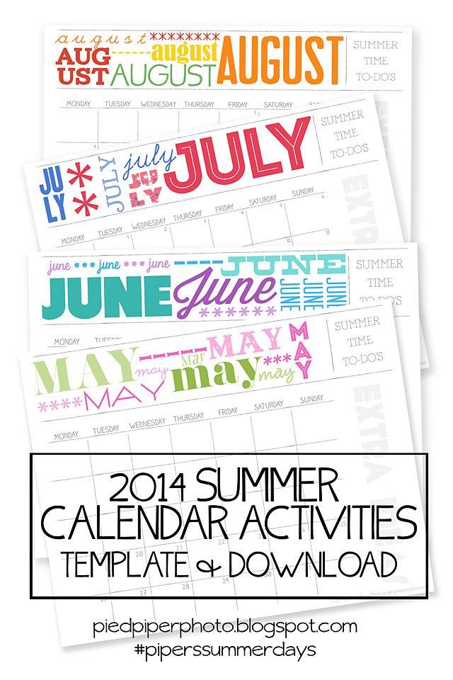 The Confident Mom\u0027s Summer Survival Calendar For The Best Summer