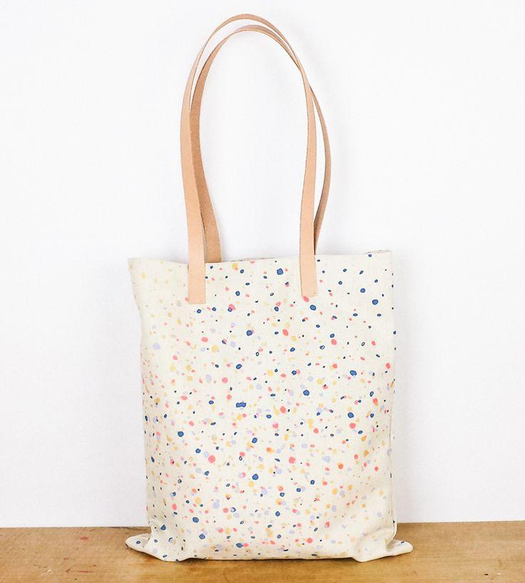 Confetti Print Canvas \u0026amp; Leather Tote Bag | Canvas Leather, Leather ...