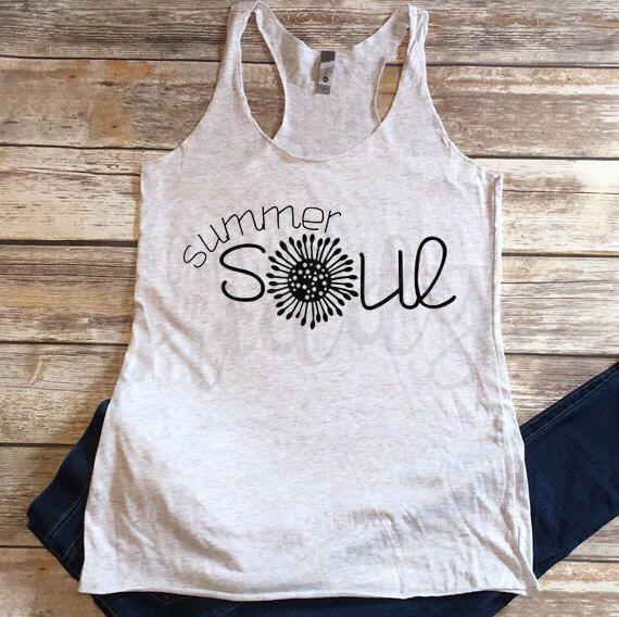 Summer Soul Summertime Summer Tanks Custom Vinyl