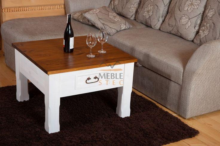 Dwukolorowe meble rustykalne do salonu. Biały stolik kawowy w stylu rustykalnym.    #rustykalne #dwukolorowe #drewniane