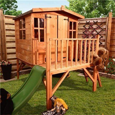 Children's Wooden Playhouse with Slide Mad Dash Bunny Tower OGD080