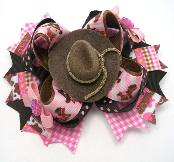 Country Western Hair Bow  Pink And Brown by JustinesBoutiqueBows