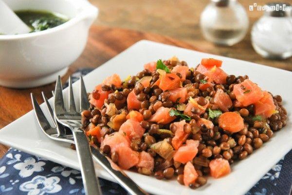 Ensalada de lentejas y salmón con salsa de cilantro - L´Exquisit
