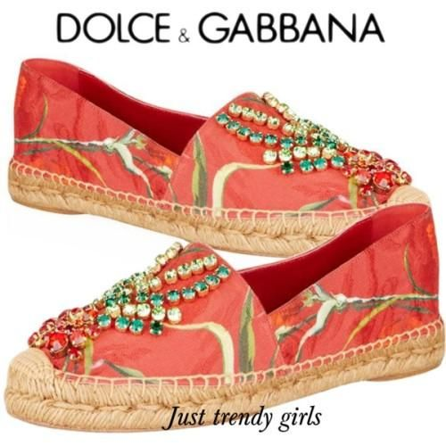 d&g leather and crystal embellishments Dolce & Gabbana canvas espadrille http://www.justtrendygirls.com/dolce-gabbana-canvas-espadrille/