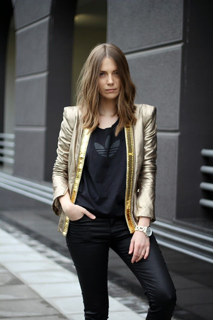 Gold leather jacket.  I could never pull this off which is why I am loving her so much in it.