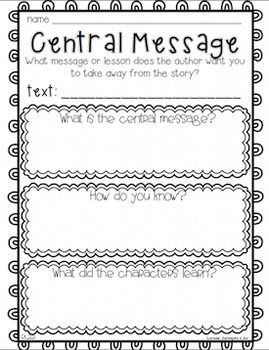 Central Message or Theme Anchor charts, response sheets, a