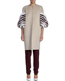 Fendi Striped Fur-Sleeve Coat, Short-Sleeve Cady Top & Pleated Cady Jogging Pants