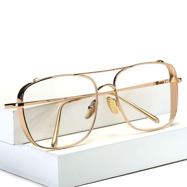 OOBON Luxury eye glasses frames for men 2017 top quality gold metal flat top big man glasses optical frames brand gafas