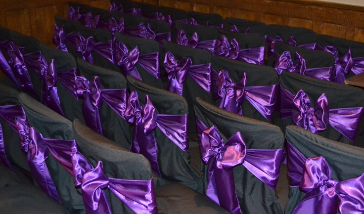 Black Chair Covers with Cadburys Purple Satin Bows
