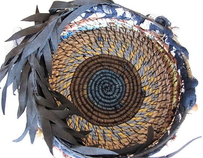 Blue, black, yellow and cream handwoven basket | Nu4U Fashion and Home Decor