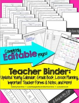 Digital Teacher Binder Jumbo Pack: Gradebook, Forms, Lesson Plans, Updated School Year Calendar