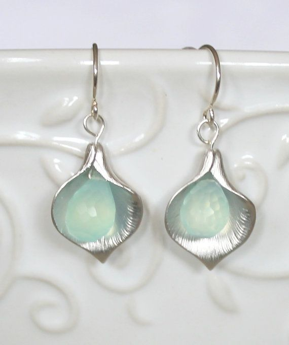 Aqua Blue Chalcedony drops in Silver Calla Flowers by NHjewel, $32.00