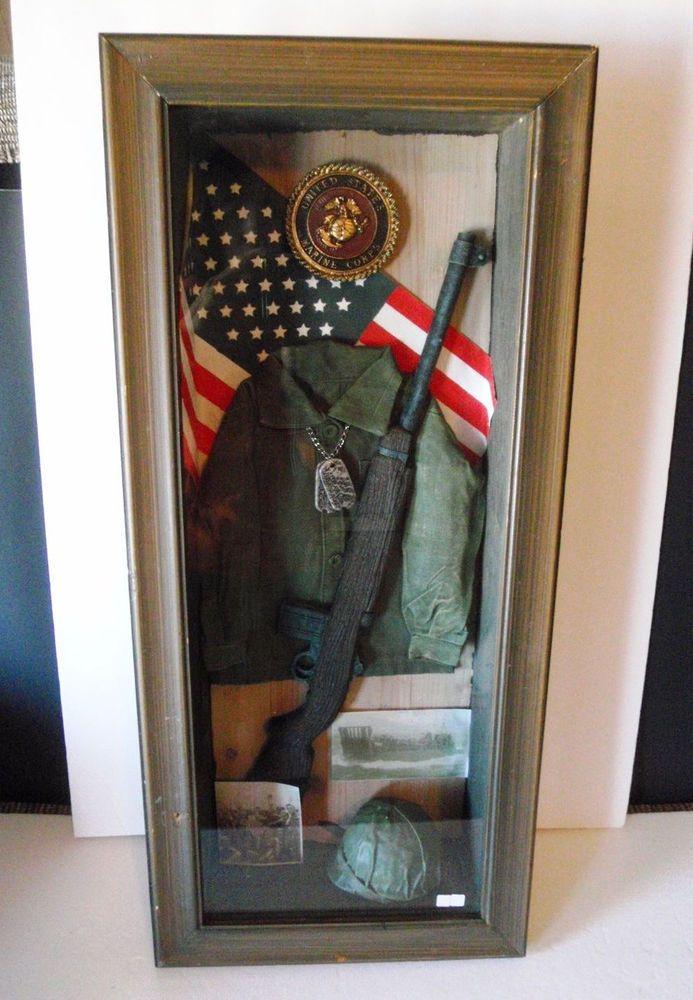Us Marine Corps Military Shadow Box Wwii Era Display Case