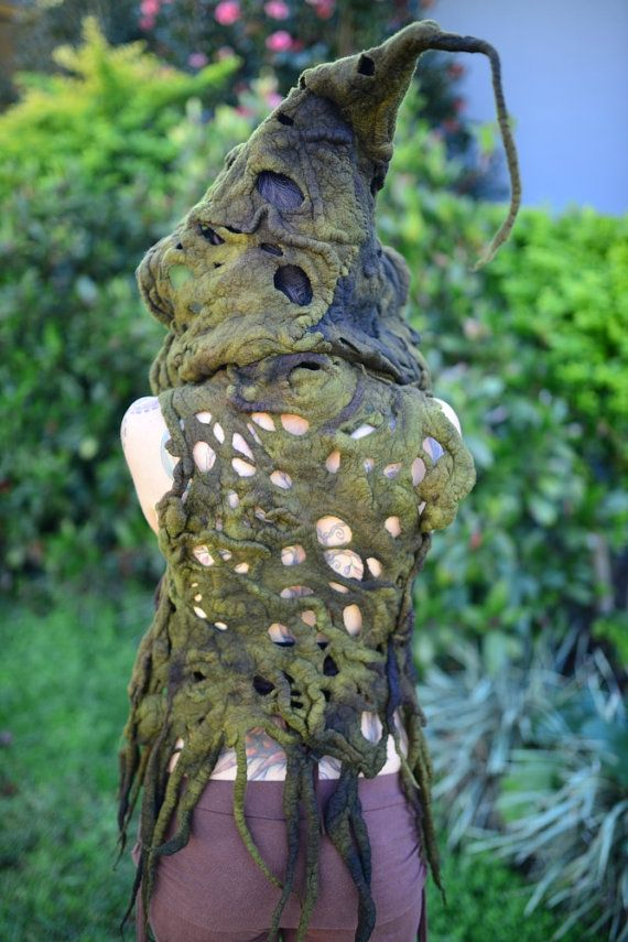 Felt Melted Tree Roots Woodland Nymph Princess Of The Forest Moss Green Vest…