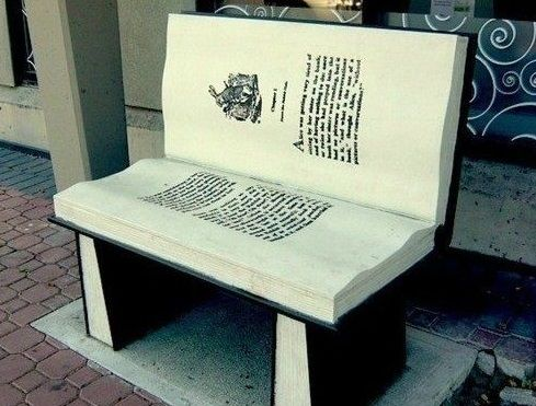 Bench shaped like stacks of books. 22 Things That Belong ...