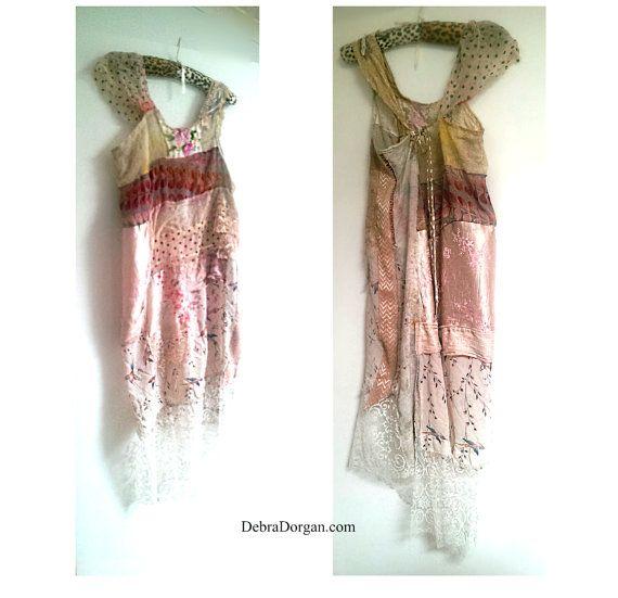 Robe délicate Roma Swamp, en lambeaux, botanique, colibri, soie, coton, dentelle Vintage, rose tendre, Lacy, Boho, petite à grande