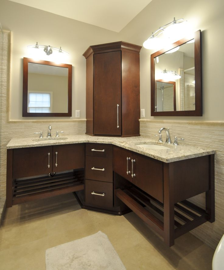 Wall Hung Vanity With Corner Tower And Matching Mirrors Bathrooms