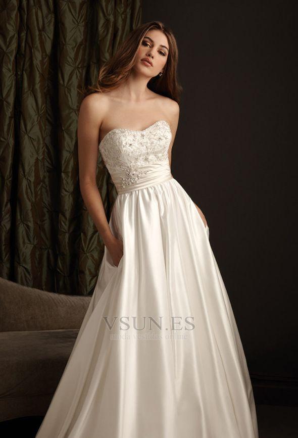 Vestido de novia Corte-A Satén Elástico Espalda Descubierta Natural