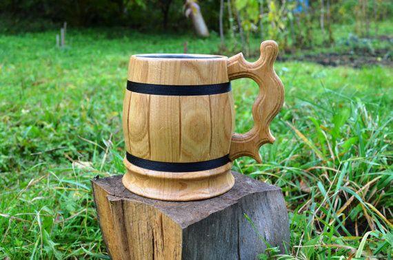Wooden beer mug wood stein tankard cup by WoodenTreasury on Etsy