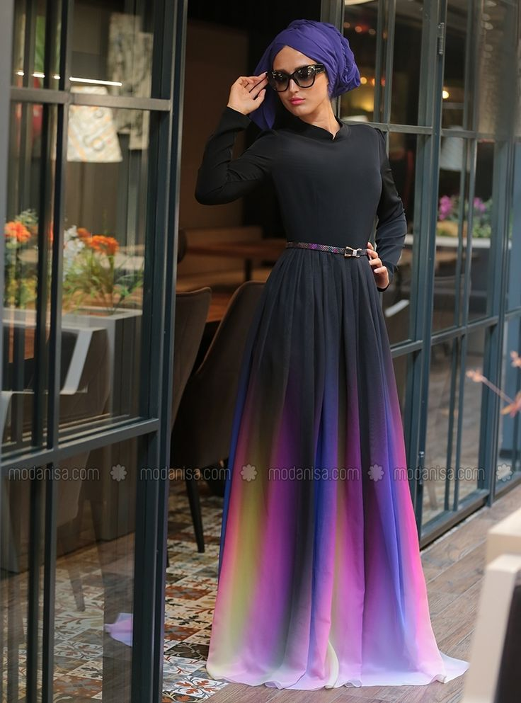 Rainbow maxi modest dress - Black - Selma Sari Design modanisa