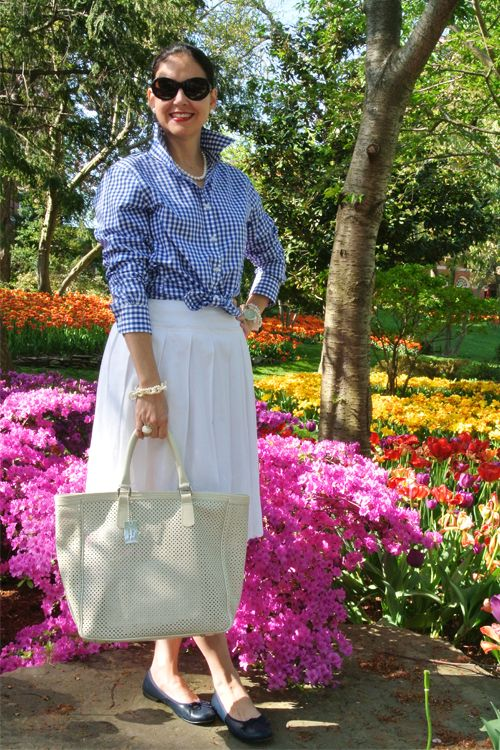 May 9, 2013 http://www.akeytothearmoire.com/post/50010796899/what-dreams-may-come #gingham #blue #white #romantic #classic #preppy #chic #Washington DC #tulips #garden #pierced bag #pearls #Dolce & Gabbana #Jones New York #Anne Klein #Innue #Brotes #El Corte Ingles #ballerina flats #Honora #embroidery #embroidered skirt #pleated skirt