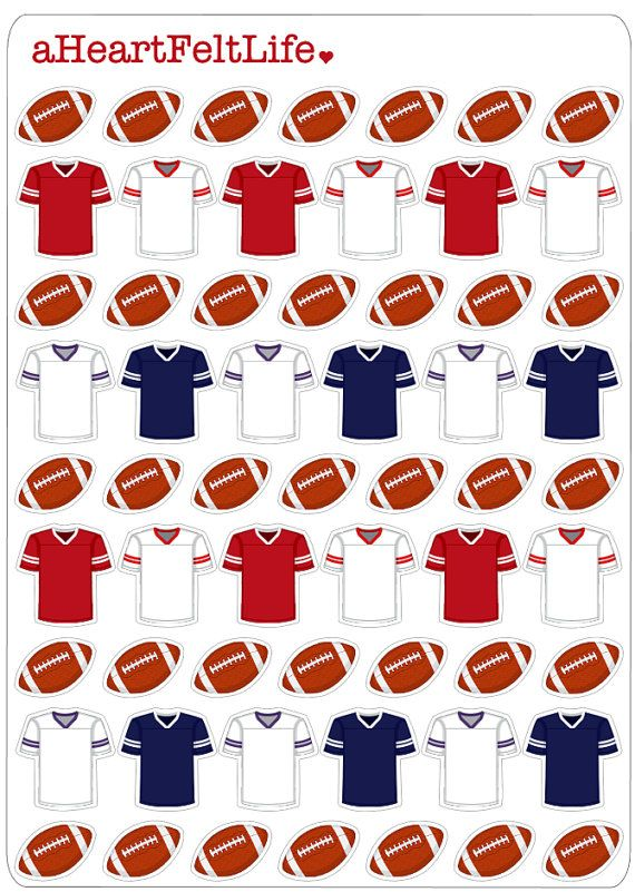 Red & Navy Football Stickers for your Planner by aHeartFeltLife
