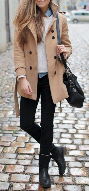 Camel pea coat, sweater over a collared shirt, black jeans, short boots, crossbody/shoulder bag