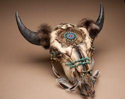 "Indian Dreamcatcher Buffalo Skull 24"" -Creek  (ps91)"