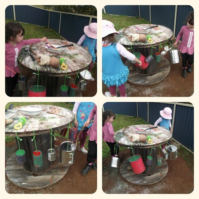 Recycled Tin Musical Spool Table - Mummy Musings and Mayhem. Simple yet effective! And those cable spools are brilliant for play, especially the smaller ones that are easily movable by young children. I love loose parts!