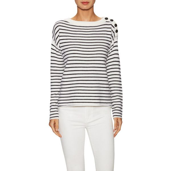 ATM Women's Wool Stripe Sailor Sweater - Size M ($185) ❤ liked on Polyvore featuring tops, sweaters, multi, striped sweater, boat neck sweaters, sailor top, boat neck tops and drop shoulder sweater