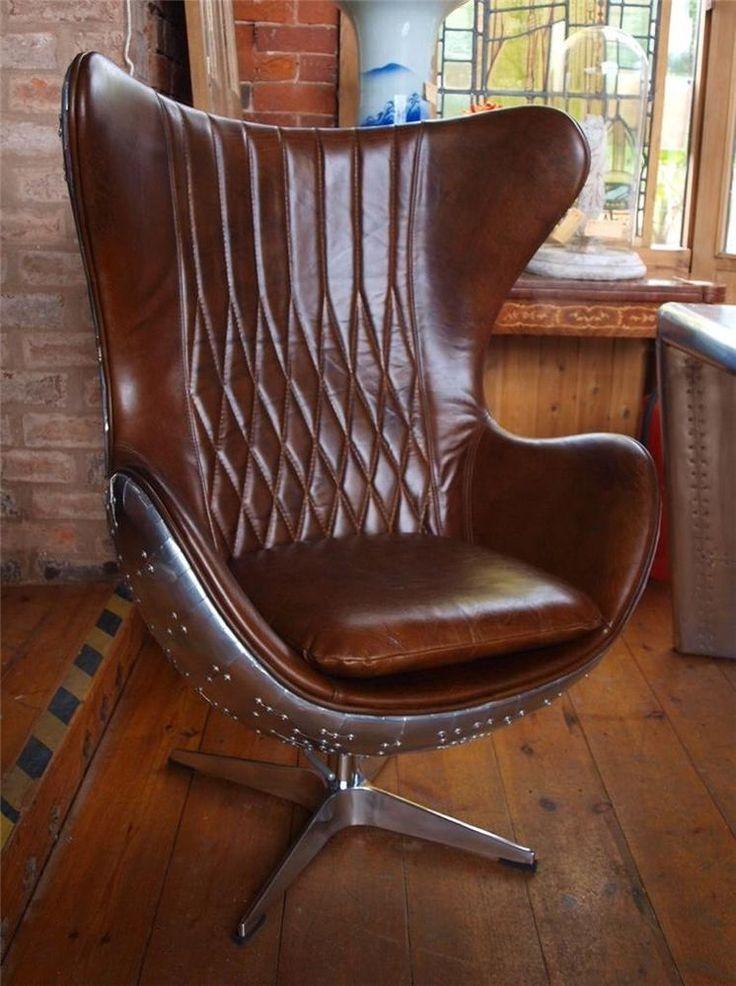 Aviation aviator brown leather aluminium chair