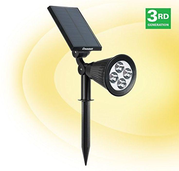 HumaBuilt Solar Powered LED Garden Spotlight - Outdoor Spot Light Great for L...