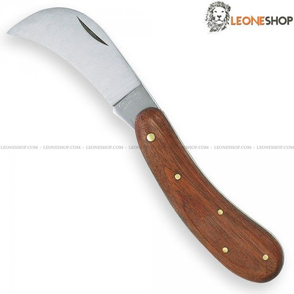 """Professional Grafting Hook Knife ARCHMAN Italy, gardening and grafting hook knives with blade of carbon steel of high quality Satin finished - Handle made of Bubinga Wood finely handcrafted, inside and rivets of Brass - Overall lenght 7.1"""" - Weight 3.7oz - ARCHMAN Italy Professional grafting hook knife ideal for any manual plants graft, a truly exceptional product with quality materials and good italian design, light, useful and with a great cutting capacity..."""