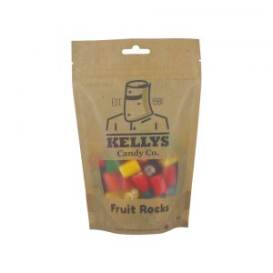 A bulk box of 10 Kellys Fruit Rocks Bags .