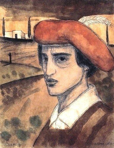 Gulácsy, Lajos (1882-1932) -  Self-portrait in Italian Landscape, 1902
