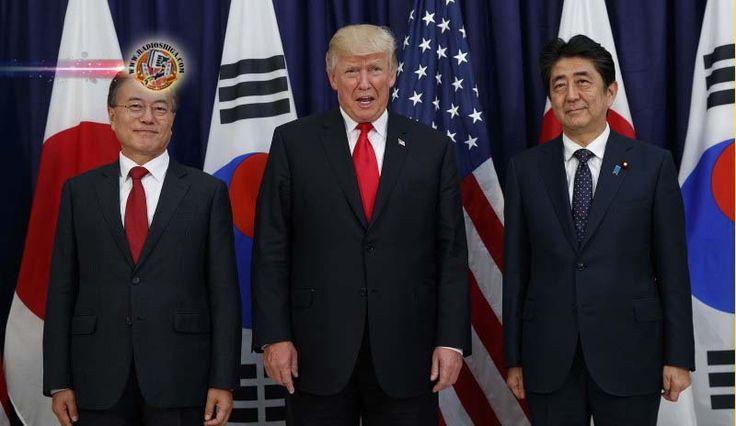 Japão, EUA e Coréia do Sul trabalharão juntos no caso da Coréia do Norte. Líderes do Japão, Estados Unidos e Coréia do Sul concordaram em trabalhar, em estr