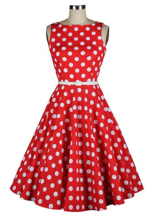 Vintage 50s style polka dot red dress