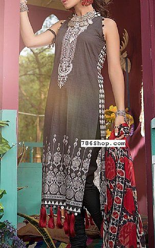 61a4045078 Dark Grey Lawn Suit | Buy Maria B Pakistani Dresses and Clothing online in  USA, UK