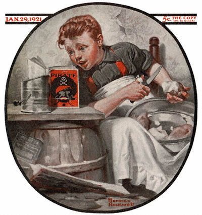 Boy Reading Pirate Stories by Norman Rockwell (The January 29, 1921 Saturday Evening Post cover)
