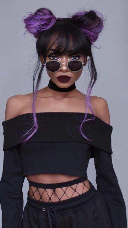 Black and Violet Buns