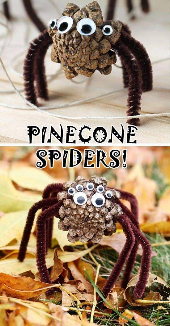 15 Halloween Bastelideen + Anleitungen - Pinienzapfen-Spinnen