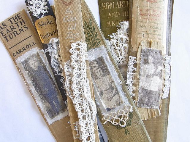 Pretty Lace Bookmarks that are created from old book spines...DIY project