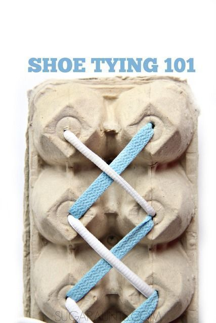 Tips and tools for teaching kids to tie their shoes from and Occupational Therapist.  This would be a perfect center in a life skills or special needs class.  Once they master tying the laces this way, move onto the real deal.  An important life skill that can be challenging to teach.  Grab these great tips at:  http://www.sugaraunts.com/2015/10/shoe-tying-tips-and-tools-for-kids.html